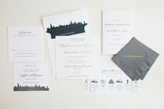 Windy City Wonderful: we love this #classic invitation suite, which combines #traditional elements with a #modern edge, including the #chicagoskyline ! By #magnificentmilestones. Photography by Amanda Hein Photography