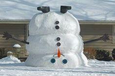 Upside Down Snowman . Very funny Winter Fun, Winter Snow, Winter Christmas, Xmas, Christmas Crafts, Funny Animal Pictures, Funny Animals, Random Pictures, Funny Pics