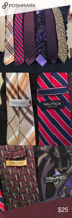 6 Ties! 6 !! Great brands ! All for one low price 6 ties ranging in color and designer ! 6 ties!! 6 for 25 !! All six !!  Accessories Ties