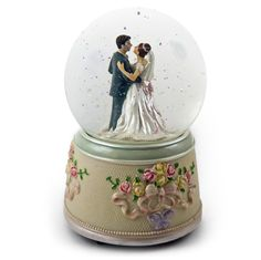 Bride and Groom Wedding Dance Animated Water Globe with Elegant Roses and Ribbons Base Water Globes, Snow Globes, Cartoon Love Pictures, Precious Moments Wedding, Cartoons Love, Rose Gift, Bride Dolls, Music Boxes, Fruit Garden