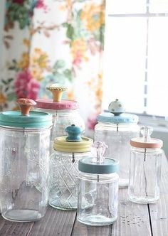 Easy shabby chic containers: Use different jars, paint the lids, and add vintage drawer pulls.
