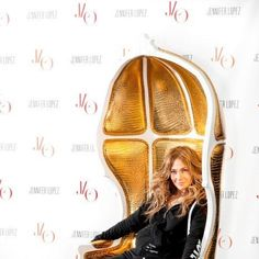 J LO on one of Our Chair  Our Golden Chair -by KARE  :) Design 24, Lamp Design, Jennifer Lopez, Cool Chairs, Armchair, Glamour, Actresses, Benches, Gifts