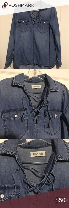 """Madewell Denim Lace-Up Chester Top Small chambray Madewell / Denim Lace-Up Longsleeve Shirt / size: Small / measurements: bust - 19.5"""" laid flat, length -24"""" front, 26"""" back Madewell Tops Tees - Long Sleeve"""