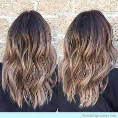 Balayage blonde blend into caramel brown hair