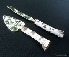 Rustic Wedding Cutlery Birch Cake Server and Knife from a Real Birch Tree Handmade by The Bent Tree Gallery