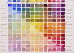 It shows many (but not all) of the colors that can be made from a simple palette of 10 pigments. The greens and the violet are actually mixt...