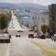 "Daily Paintworks - ""Street with a View"" - Original Fine Art for Sale - © Carol Marine Urban Landscape, Landscape Art, Landscape Paintings, Urban Painting, Artist Painting, Environment Concept Art, City Art, Urban Art, Architecture Art"