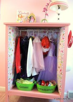 How to DIY a Dress Up Station from an old dresser. Such a cute idea -- maybe a Christmas present for a little girl?