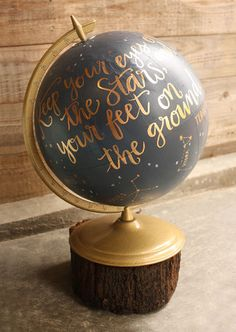 Hand-painted globe - flat black, gold, and natural rustic wood