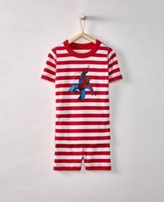 Marvel® Spider-Man Short John Pajamas In Organic Cotton Black Kids Fashion, Blazer Fashion, Hanna Andersson, Organic Cotton, Spiderman, Girl Outfits, Pajamas, Marvel, Womens Fashion