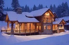 I love log cabin homes, and the woodsy/winter look. Hopefully one day I will build my own log cabin house in this type of environment. Timber Frame Homes, Timber House, Log Cabin Homes, Log Cabins, Cabins And Cottages, Cabins In The Woods, My Dream Home, Dream Homes, Future House