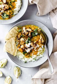 Vegan Butternut and Lentil Curry with Cumin Roasted Cauliflower - Cupful of Kale