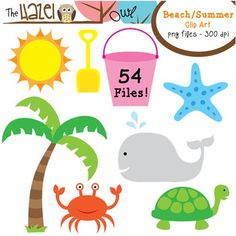 Beach / Summer Clip Art!  54 Graphics!!  --use for scavenger hunt laminated page with clip or stone or tie