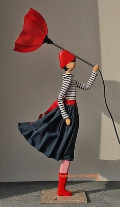 Wooden table lamp, girl with umbrella lamp Shelf Lamp, Wooden Table Lamps, Thing 1, Beautiful Outfits, Shabby Chic, Disney Princess, Lighting, Design, Clothes