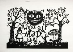 Scherenschnitt Alice im Wunderland.
