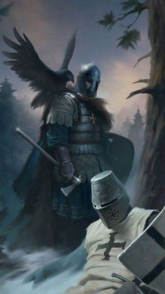 What is this act of grace on the part of the Jautawahan? Perhaps it is Smiley.yet how would he recognize him with his helmet on? Medieval Knight, Medieval Art, Medieval Fantasy, Viking Art, Viking Warrior, Vikings, Fantasy Character Design, Character Art, Knight Tattoo