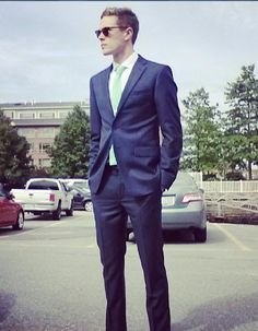 mint tie with 3 piece blue suit - Google Search
