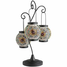 Glass Kaleidoscope Mosaic Hanging Lantern 19 Inches H, Hand Crafted Tealights