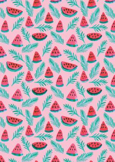 A4 Melon Palm Pattern Print