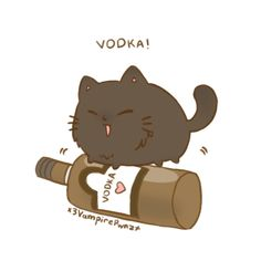 Chibi Neko Russia by x3VampirePwnzx.deviantart.com on @deviantART - Fourth in a series showing Nekotalia characters with their favourite foods: Neko!Russia with vodka. Aw...look, he's trying to balance on the bottle. *pause* Wait a sec - does that mean we've got a drunk kitty? O_O Uh-oh....