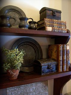 Old pewter, old books and smalls displayed on a shelf....www.picturetrail.com/theprimitivestitcher  Linda B.