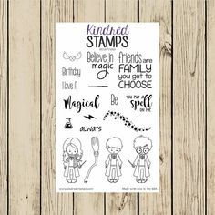 Wizard Friends Rubber Stamp Set, Harry Potter Stamps, 4x6 Set, Kindred Stamps, Magic School, You Put a Spell on Me, Have a Magical Birthday