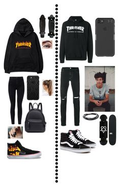 """Skateboarding"" by magcult-member on Polyvore featuring J Brand, Vans, Casetify, NIKE, RtA, Thrasher, Under Armour, Tateossian, Yellow Jacket and Avon"