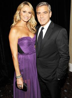 George Clooney and Stacy Keibler. Pretty in purple, Stacy Keibler posed with George Clooney at the 15th annual Hollywood Film Awards Gala presented by Starz at The Beverly Hilton Hotel in Beverly Hills on October 24, 2011.