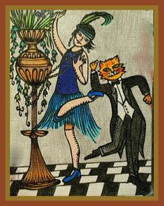 """Dance like it's the Total size Image slightly smaller for best quality print results. Printed on """" linen """" textured print paper. 1920s Flapper, Flappers, Artworks, Cats, Brown, Prints, Image, Gatos, Kitty Cats"""