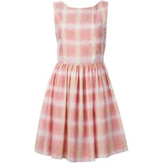 Marc By Marc Jacobs Blurred Gingham flared dress (23640 DZD) ❤ liked on Polyvore featuring dresses, pink, flared dresses, mixed print dress, flare dress, pattern dress and pink gingham dress