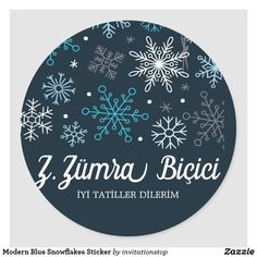 Modern Blue Snowflakes Sticker