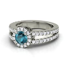 Round London Blue Topaz 14K White Gold Ring with White Sapphire - Adelaide Ring | Gemvara