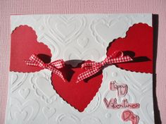 VALENTINE'S DAY CARD  Hearts and Bows by JustforUnotes on Etsy, $3.00