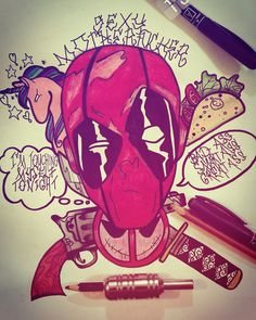 #deadpool #comic #taco #gun #tattoo #neotraditional #sexy #hungary #katana #sword