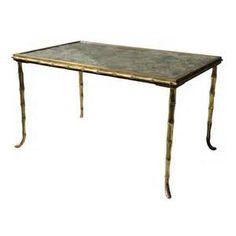 Maison Jansen Bronze and Eglomisé Coffee Table
