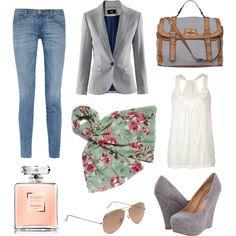 Grey blazer, suede wedges & floral print scarf