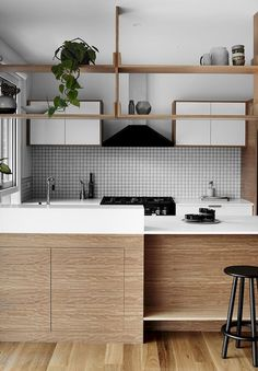 Modern Kitchen Interior Light wood and white kitchen with black accents - This transformation of a home is inspiring. White Interior Design, Interior Design Kitchen, Interior Plants, Home Decor Kitchen, Home Kitchens, Kitchen Wood, Kitchen Ideas, Kitchen White, Kitchen Cabinets