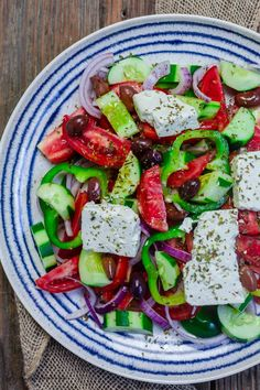 This Greek salad with tomatoes, cucumbers, and bell peppers is prepared exactly how you will find it on the Greek islands! So easy and packed with flavor! Recipe comes with great tips and a full tutorial. #greeksalad #greekrecipes #greekfood #mediterraneandiet #mediterraneanfood #mediterraneanrecipes #healthysalad #salad #feta Mediterranean Breakfast, Mediterranean Dishes, Mediterranean Diet Recipes, Mediterranean Style, Healthy Salads, Healthy Dinner Recipes, Cooking Recipes, Appetizer Recipes, Healthy Eating