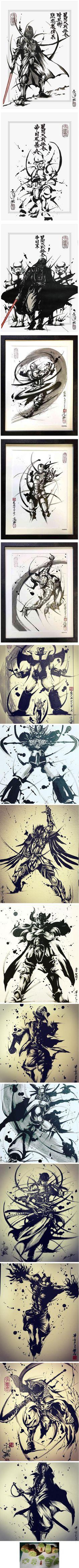 "Artist Masayuki Kojo turns fiction characters into awesome art in ""Suiboku-ga"" ink wash painting style"