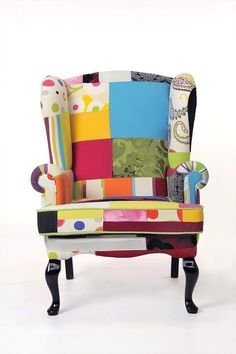 Pablo Wing chair in Full Colour patchwork upholstery by Home Collections