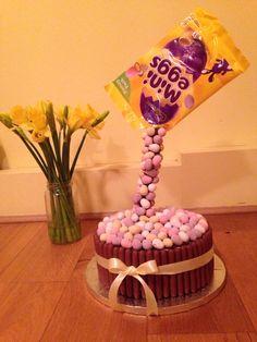 Easter mini egg anti gravity cake