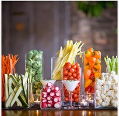 Great way to display vegetables at a dinner party