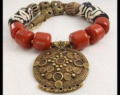 Funky Jewelry, Unusual Jewelry, Tribal Jewelry, Unique Necklaces, Tribal Necklace, Jewelry Art, African Beads Necklace, African Jewelry, Tribal Style
