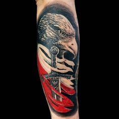 Polish Eagle Tattoo, Polish Tattoos, Patriotic Tattoos, Spawn, Eagles, Body Art, Skull, Military, Inspiration