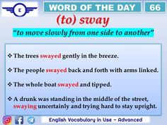 Action Verbs, E Words, Word Of The Day, One Sided, English, Learn English, English Language