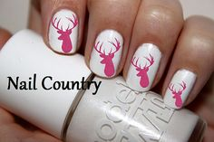 50pc Pink Deer Silhouette Deer Nail Decals Nail Art by NailCountry, $3.99