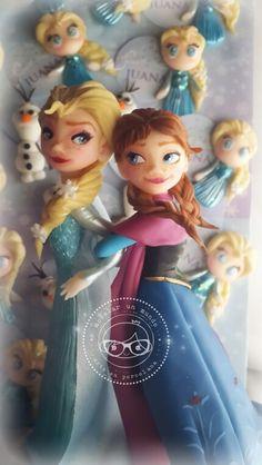 Frozen Elsa and Anna clay biscuit porcelana fría by modelar un mundo