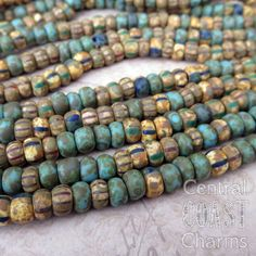 Aged Striped 2/0 Czech Glass Rocaille Seed by CentralCoastCharms