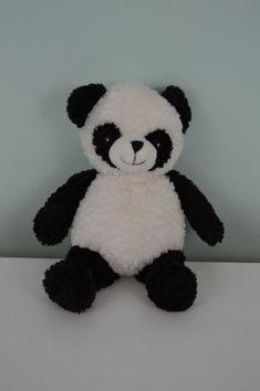 "Creature Comforts Panda Bear Plush Stuffed Animal Toy Black White 10.5"""
