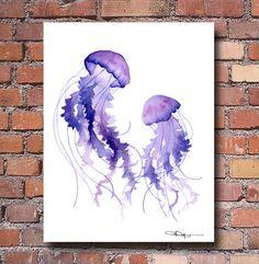 Decoración de la pared de la acuarela - pintura abstracta - de baile medusas